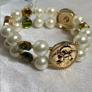 Charter club gold tone green pearl stretchy bracel